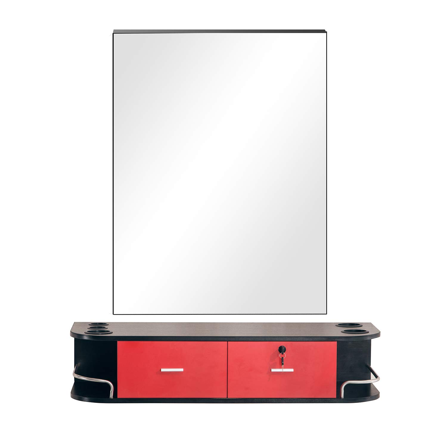 Barberpub Locking Wall Mount Styling Barber Station w/mirror Beauty Spa Salon Furniture (Black&Red)