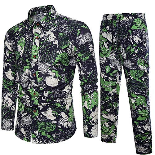 Boys Long Sleeved Fleece Pant - VEZAD Tracksuit Men Ethnic Style Printed Cotton and Linen Long-Sleeved Shirt + Pants Suit