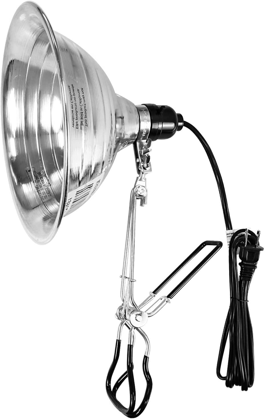 Simple Deluxe HIWKLTHEAVYCLAMPLIGHTM Tight Grip Clamp Lamp Light with 8.5 Inch Aluminum Reflector up to 150 Watt E26 Socket (no Bulb Included) 6 Feet 18/2 SPT-2 Cord, Silver