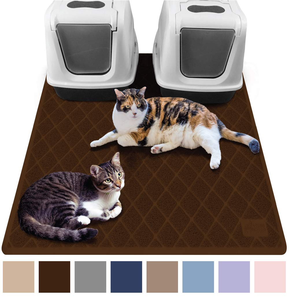 Gorilla Grip Original Premium Durable Cat Litter Mat XL Jumbo No Phthalate Water Resistant Traps Litter from Box and Cats Scatter Control Mats Soft on Kitty Paws Easy Clean Mats