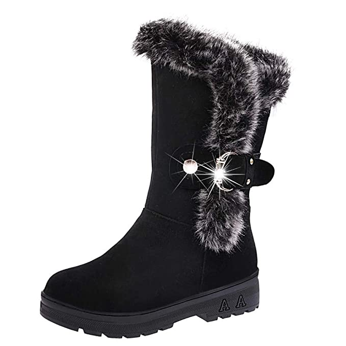 JiaMeng Mujeres Totalmente Alineada Boots Slip-On Soft Botas de Nieve Botines Planos de Piel