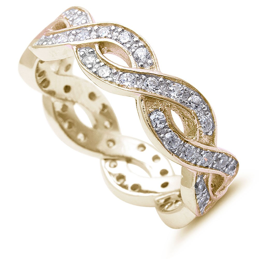 Yellow Gold Plated Infinity Design Eternity Style Band .925 Sterling Silver Ring Sizes 4-12 (yellow-gold-plated-silver, 4)