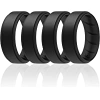 ROQ Silicone Rings for Men 1/4/6 Multipack of Breathable Mens Silicone Rubber Wedding Rings Bands - Step Edge