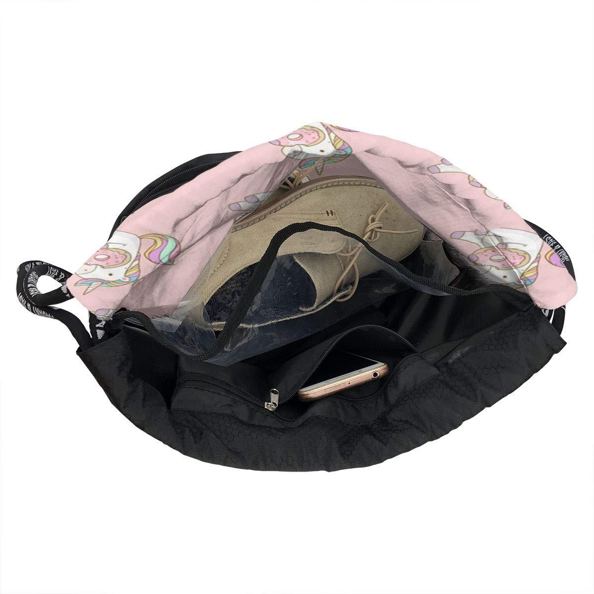 HUOPR5Q Unicorn Eating Cookie Drawstring Backpack Sport Gym Sack Shoulder Bulk Bag Dance Bag for School Travel