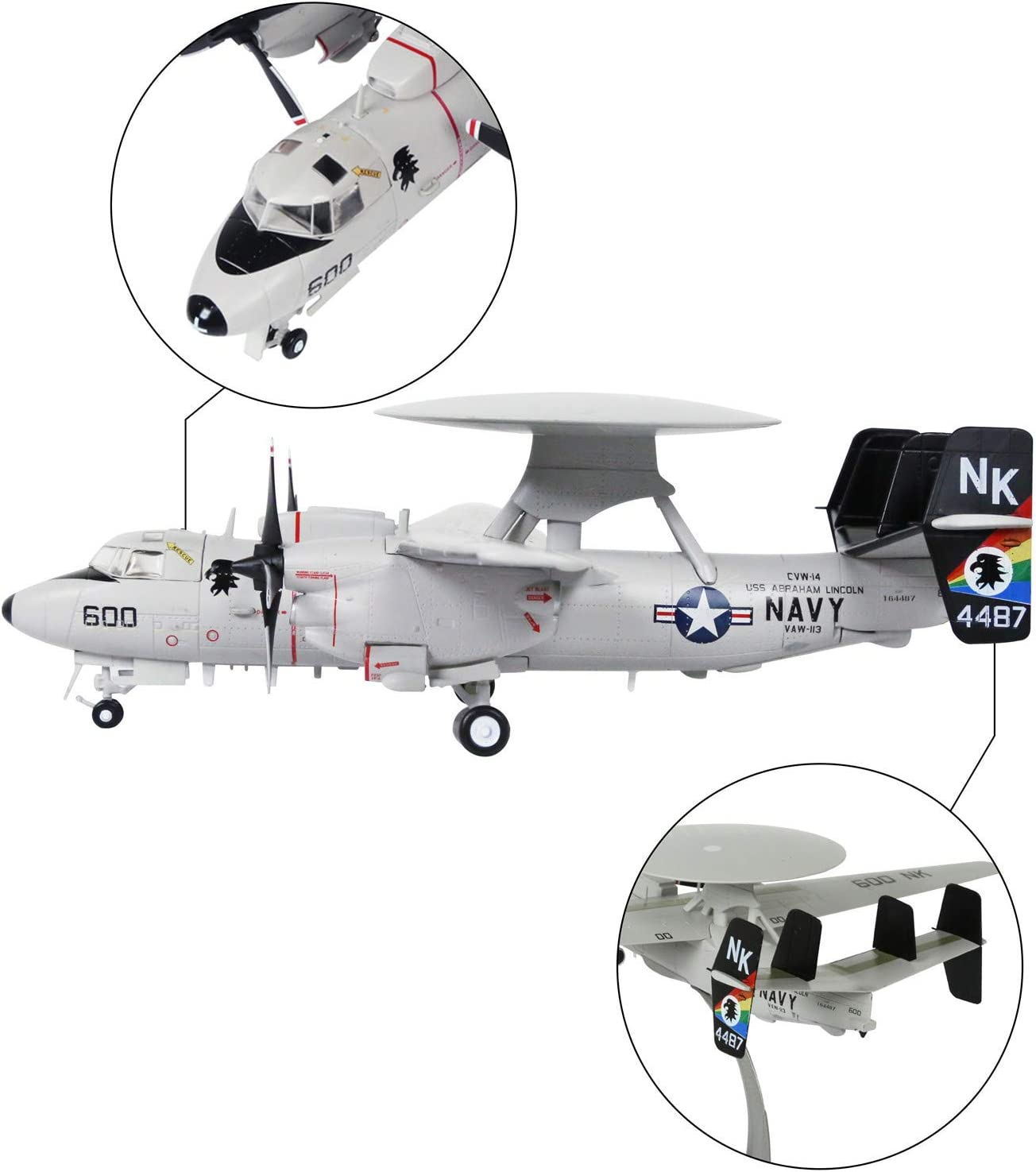 HANGHANG 1//72 Scale American E-2C Hawkeye Airborne Early Warning Metal Fighter Military Model Fairchild Republic Diecast Plane Model for Commemorate Collection