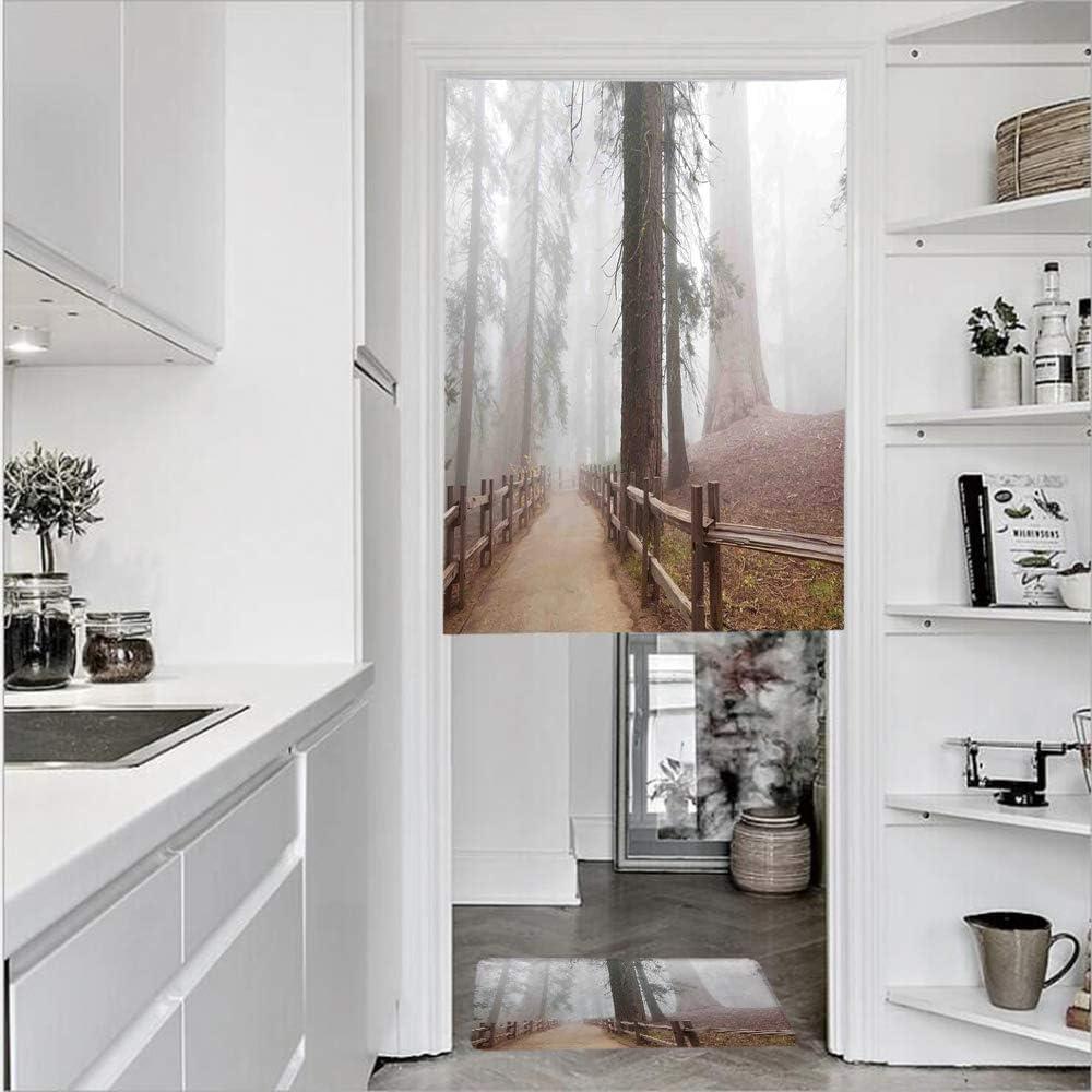 Cortinas de 1 panel con textura de lino con estampado 3D y 1 felpudo de cocina, elegante equipo de peluquería, tijeras de espejo, cortina de puerta de un solo panel 27.6 pulgadas