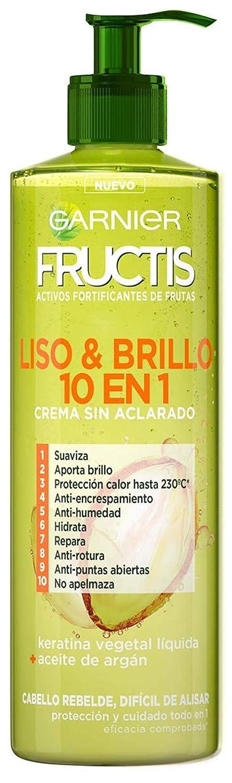Garnier Fructis Liso & Brillo 10 en 1 Crema Sin Aclarado para Pelo Liso, Rebelde, Difícil de Alisar - 400 ml