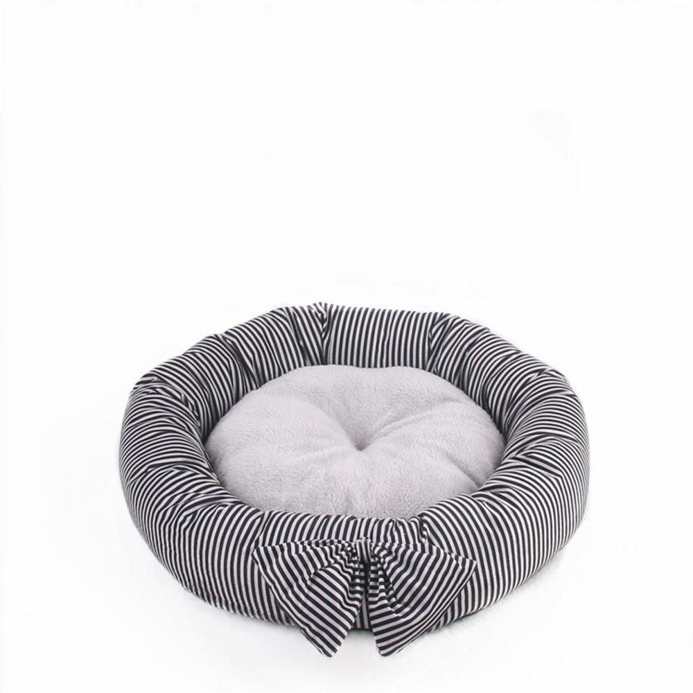 E 45cmBiuTeFang Pet Bolster Dog Bed Comfort Small and mediumsized dog pet nest cushion cat nest Butterfly knot round kennel Four Seasons