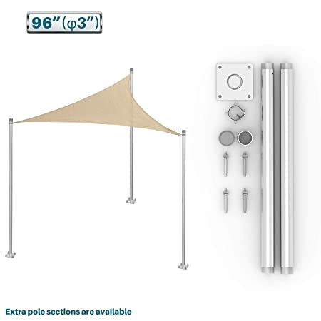 Coarbor Sun Shade Sail Canopy Support Stand Pole Kit for Awning Installation 8 feet 96 Inch High Free Standing Post Replacement Pole Fence Post Rigid Heavy Duty Steel