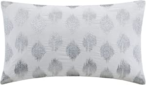 "INK+IVY Mid Century Modern Cotton Decorative Pillow Hypoallergenic Sofa Cushion Lumbar, Back Support, 12""x18"", Nadia, Silver/White"