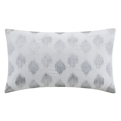 Amazon InkIvy Nadia Dot Metallic Silver Cotton Modern Throw Unique Rectangular Decorative Pillows For Couch