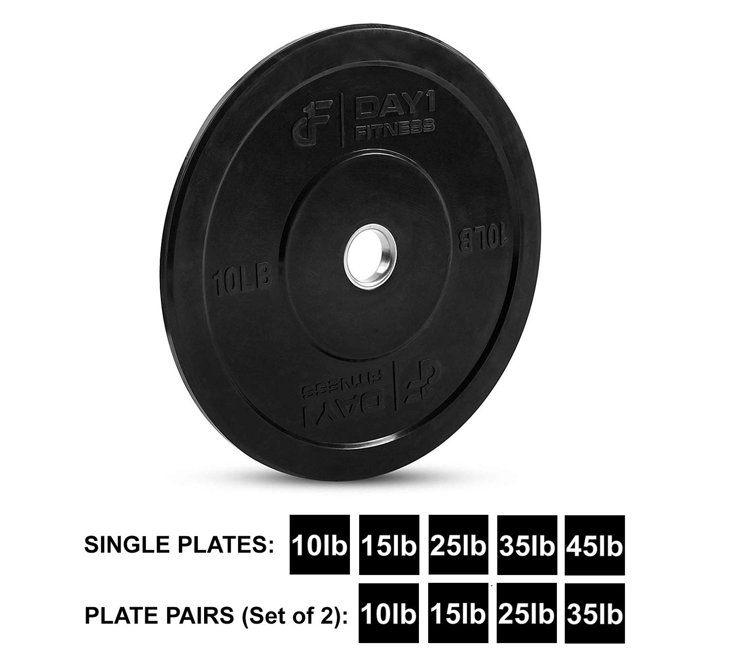 """Day 1 Fitness Olympic Bumper Weighted Plate 2"""" for Barbells, Bars – 10 lb Single Plate - Shock-Absorbing, Minimal Bounce Steel Weights with Bumpers for Lifting, Strength Training, and Working Out by Day 1 Fitness (Image #1)"""