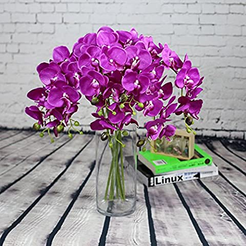 10pcs Artificial Flowers Silk Phalaenopsis Orchid Stem Bouquets Fake Flowers for Wedding Party Home Garden Decor