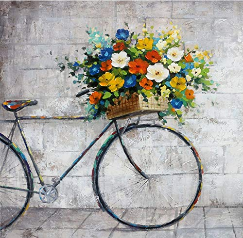Jade Lily Collection Bicycle Flower Basket Oil Painting