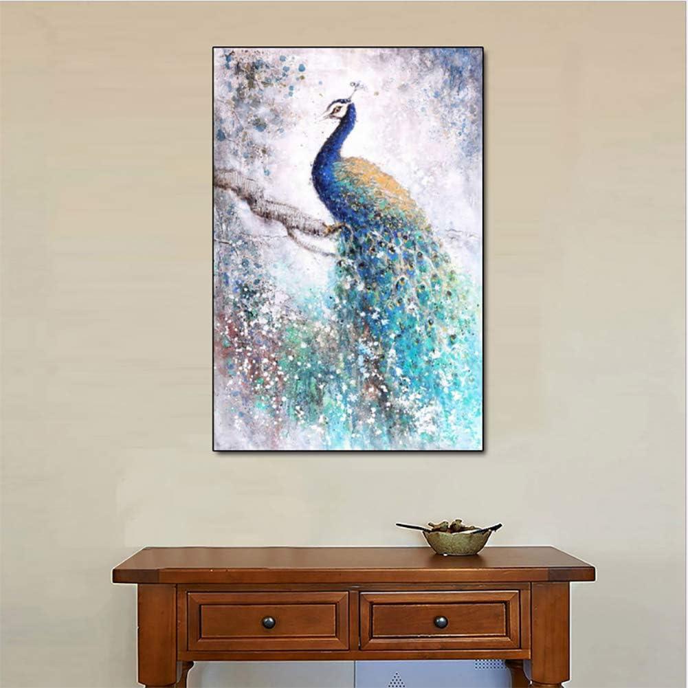 QJXX Pinturas del Pavo Real con La Pintura Al Óleo del Árbol 3D,Cuadros En Lienzo Obra Abstracta Colgante Decoración De Pared 20X28 Pulgadas (50 * 70Cm)