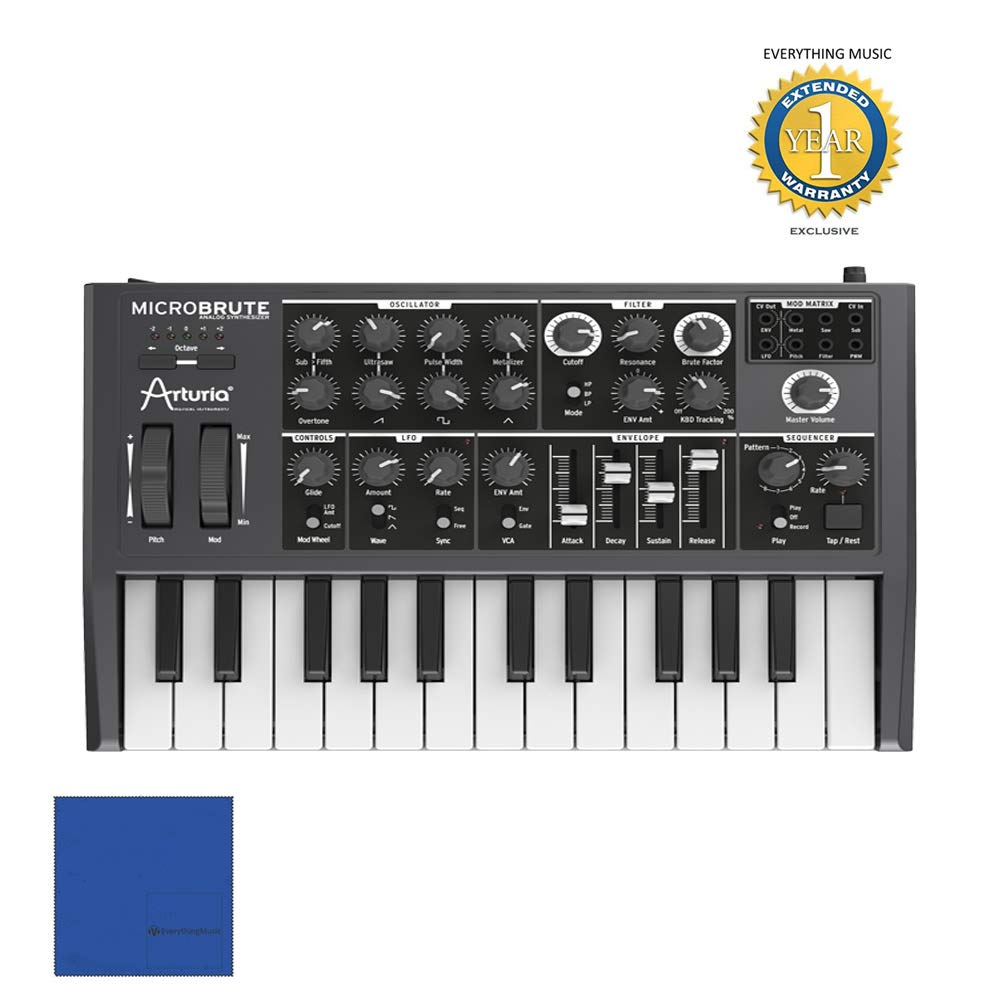 Arturia MicroBrute 25-mini-key Monophonic Analog Synthesizer with 1 Year Free Extended WarrantyandMicrofiber