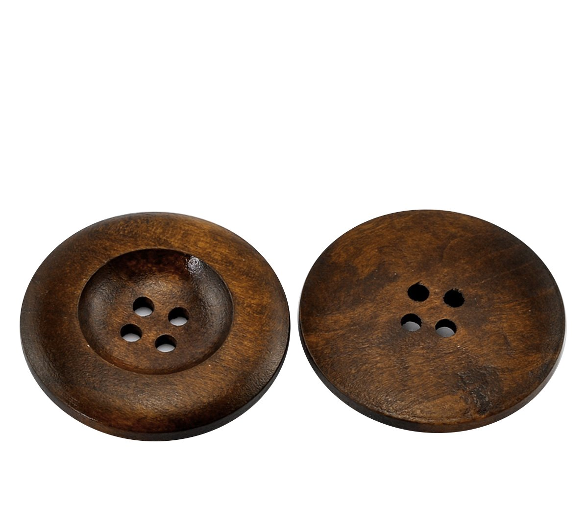HOUSWEETY 20PCs Dark Coffee 4 Holes Round Wood Sewing Buttons 35mm(1 3/8) Dia. HOUSWEETYB21318