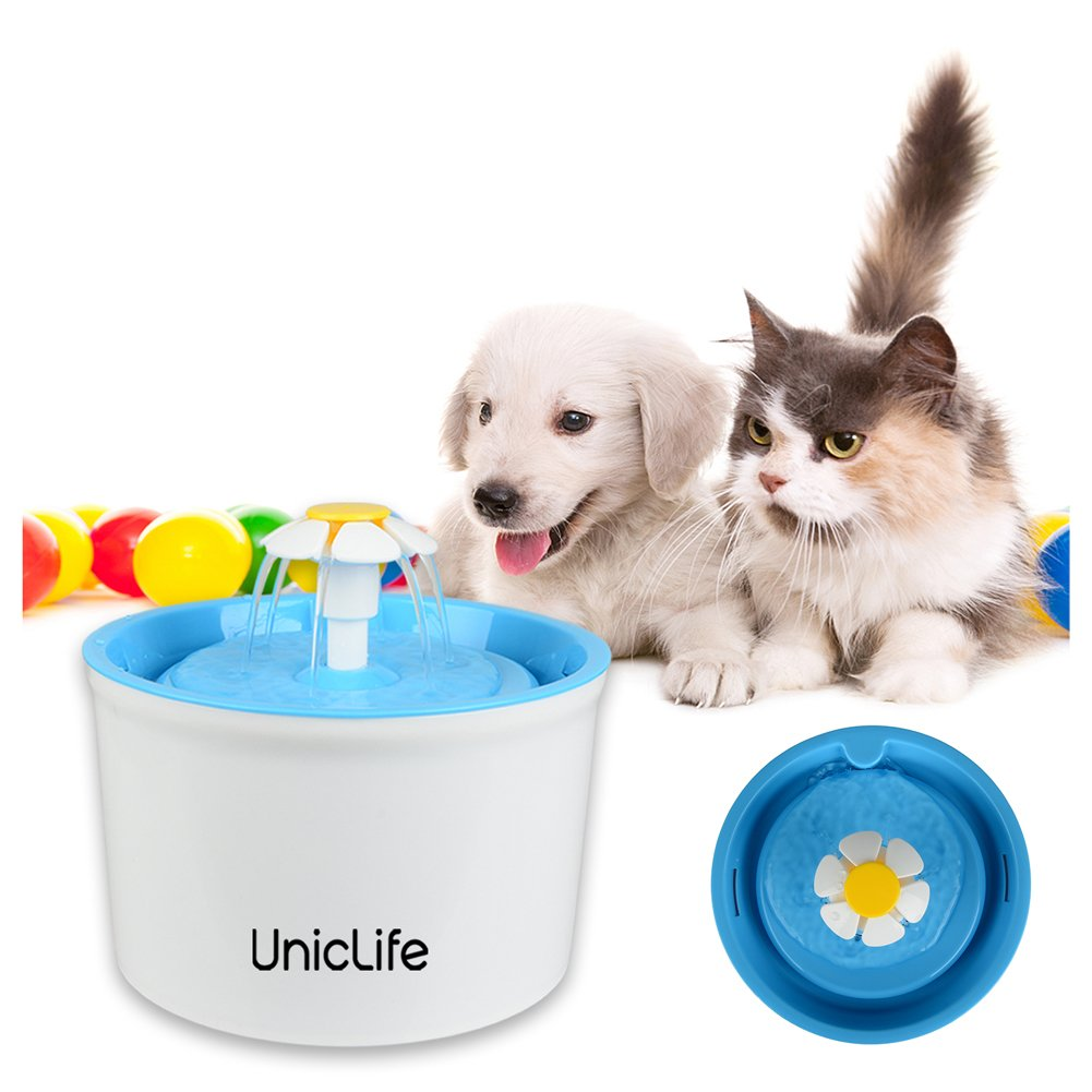 Uniclife Flower Pet Fountain 56 Oz BPA Free Water Dispenser Drinking Bowl for Cats Bird Bath and Small Dogs, Blue