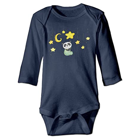 34969c93d5 RainSea Unisex Baby Panda Moon Stars Long-Sleeve Bodysuits Rompers   Amazon.in  Baby