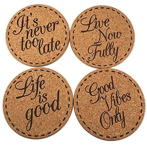 Premium Cork Drink Coasters Inspirational Gift Set (4