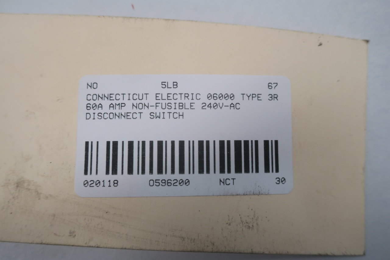 connecticut electric 06000 type 3r disconnect switch 60a 240v ac rh amazon com