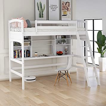 Amazon Com Harper Bright Designs Twin Loft Bed With Desk For Kids Wood Bunk Beds With Desk No Box Spring Needed White Loft Bed With Desk Furniture Decor