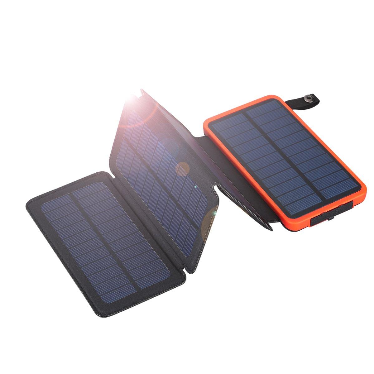 FLOUREON 10,000mAh Solar Charger Power Bank with 1+3PCS Solar Panels Portable Solar Powered Phone Charger IP67 Waterproof LED SOS Flashlight (Orange)