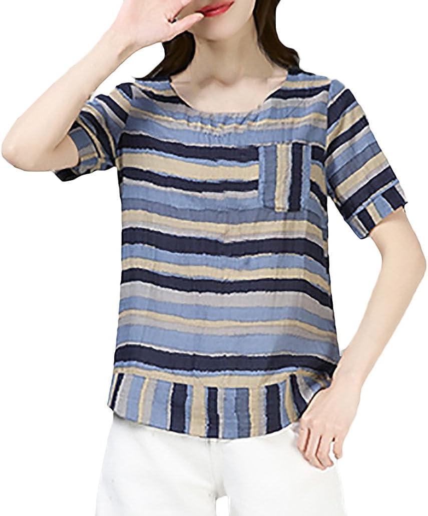 Mujer Camisas Lino Vintage Fashion Flecos Camiseta Manga ...