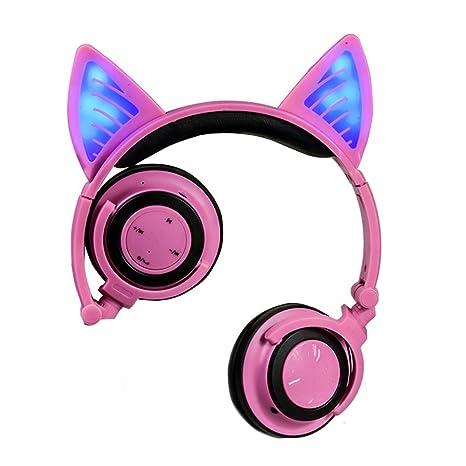 FYX Auriculares Inalámbricos diseño de orejas de gato, con Luces LED Parpadeantes Auriculares con micrófono