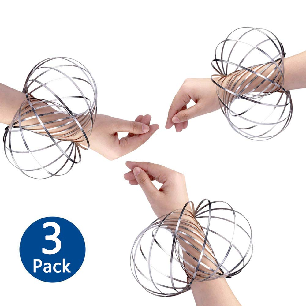 FayTint Arm Slinky Flow Ring, 3D Kinetic Spring Toy, Magical Arm Ring, Festival Game Toys for Kids Teens Adults (3 Pack)