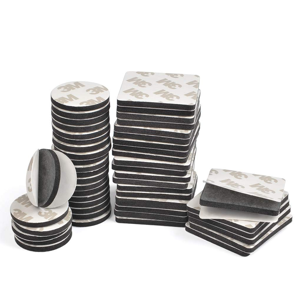 TIMESETL 50pcs Double Sided Black Foam Tape Strong