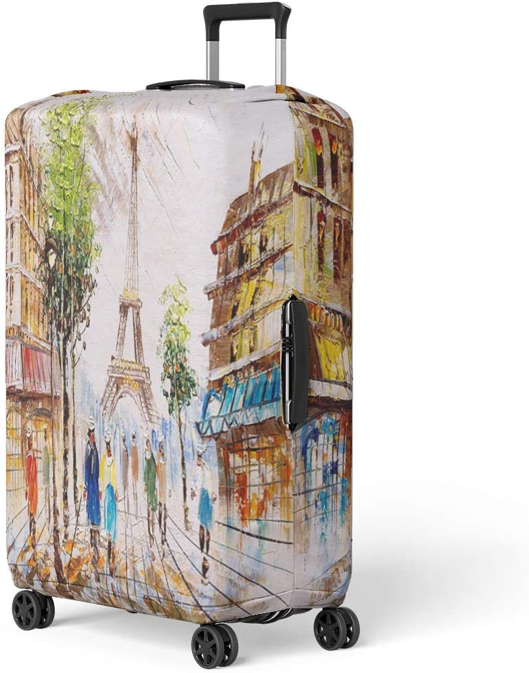 Pinbeam Luggage Cover Christmas and New Year Typographical on Winter Landscape Travel Suitcase Cover Protector Baggage Case Fits 22-24 inches