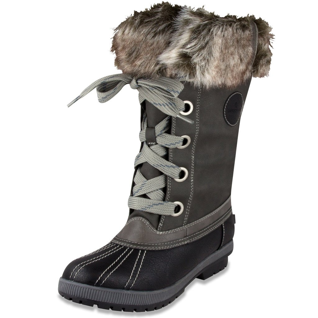 London Fog Womens Melton Cold Weather Waterproof Snow Boot Black/Grey 6 M US