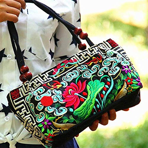 (Embroidered Handbags Vintage Flower Embroidery Bag Colorful Chinese Purses and Handbags Ethnic Evening Tote Bag for Women Girls (Color1) )