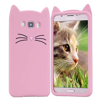 HopMore Gato Funda para Samsung Galaxy J7 2016 (J710) Silicona Motivo 3D Divertidas TPU Kawaii Carcasa Samsung J7 2016 Ultrafina Slim Case Antigolpes ...