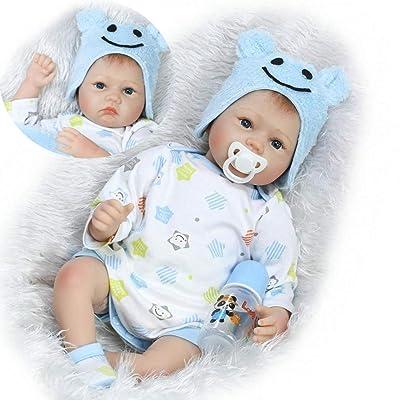ZIYIUI Doll Newborn Toddler Doll Hecho a Mano Baby Boy Tela de Silicona Suave Cuerpo 55cm 22 Pulgadas Ojos Abiertos para Mayores de 3 años: Juguetes y juegos