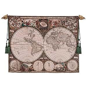 Diseño Toscano mapa del mundo pared tapiz