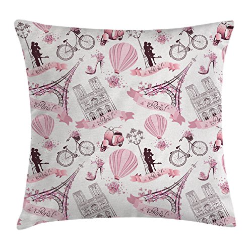Eiffel Tower Throw Pillow Cushion Cover by Ambesonne, Travel in Paris Theme Honeymoon Flowers Romance Hot Air Balloon Bike, Decorative Square Accent Pillow Case, 16 X 16 Inches, Pale Pink White (Decor Paris Accents)