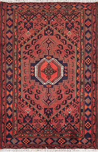 (Geometric Hamedan Persian Area Rug Hand-Knotted Oriental Brick Red 3X5 )