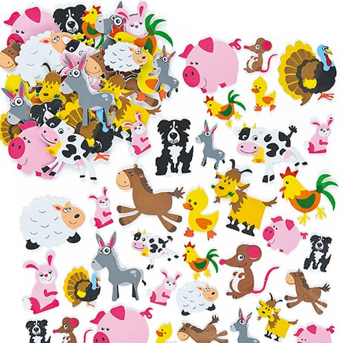 - Baker Ross Farm Animal Foam Stickers for Children to Make Decorate and Personalize Countryside Collages Arts and Crafts (Pack of 96)