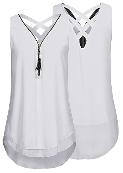 1bf9289ab9c3 Yknktstc Womens Casual Sleeveless V Neck Chiffon Tank Top Crisscross Back  Zipper Blouse T Shirt Small