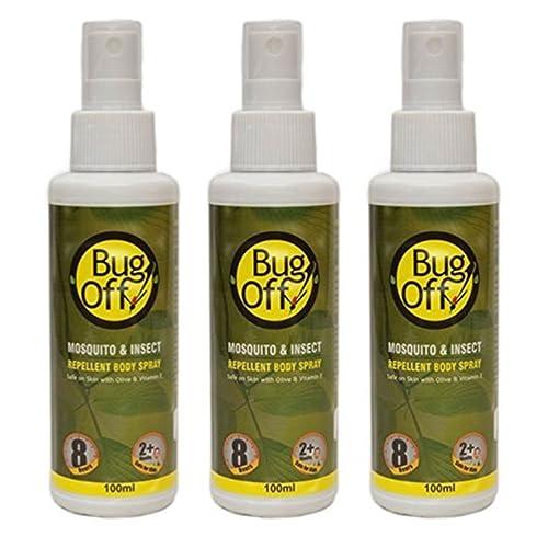Bug Off Mosquito & Insect Repellent Body Spray with Olive Oil & Vitamin E(quantity-100 ml)(3 X 100ml)