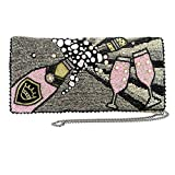 MARY FRANCES Come to the Party Beaded Champagne Embroidered Bubbles Cross-Body Clutch