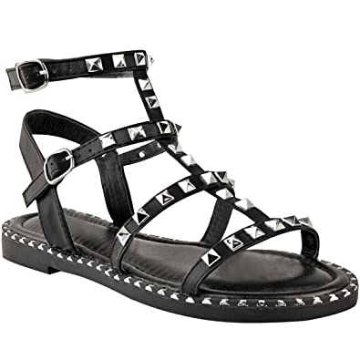 8ad130e2adcf New Womens Ladies Flat Gladiator Sandals Strappy Biker Goth Punk Shoes Size