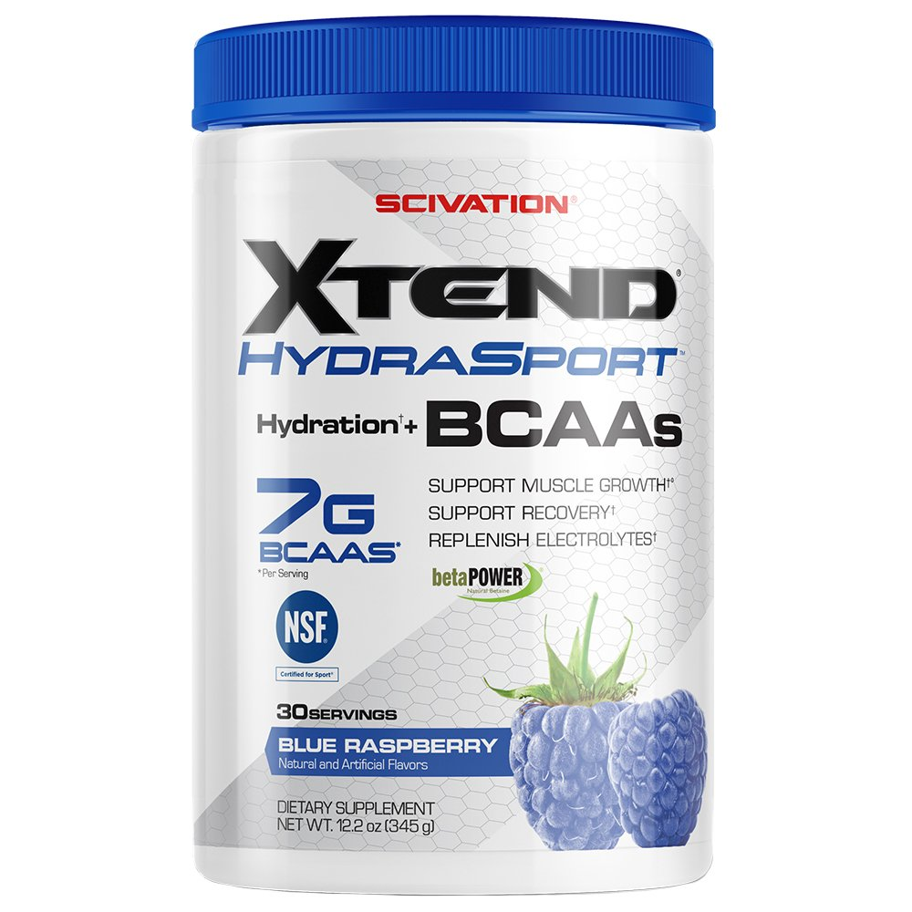 Scivation Xtend Hydrasport BCAA Powder, Branched Chain Amino Acids, BCAAs, Zero Sugar Sports Drink Powder + Hydration, Blue Raspberry, 30 Servings