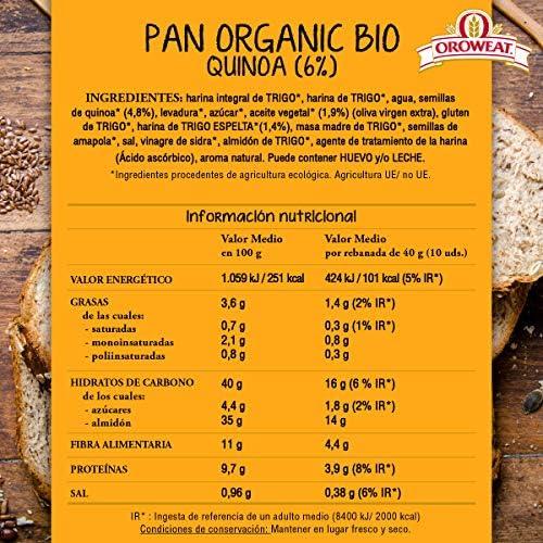 Oroweat Pan Multicereales Ecológico, Organic Bio Quinoa y Trigo Espelta, 12 Rebanadas, 400g