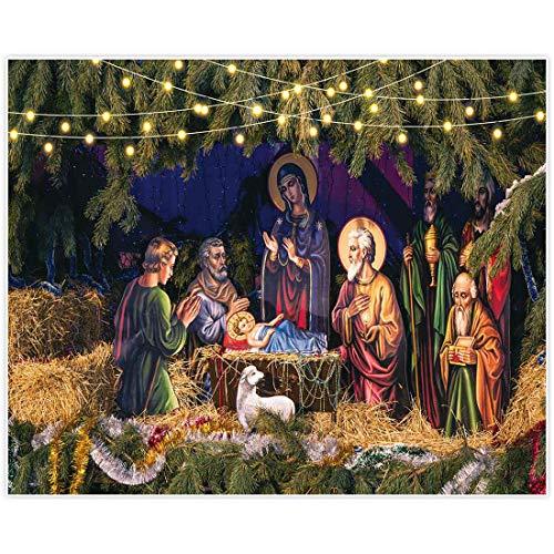 Allenjoy 10x8ft Birth of Jesus Backdrop Nativity Scene Photography Background Christmas Party Supplies Manger Decorations Baby Shower Newborn Photo Booth Props Studio Photoshoot (Christmas Manger Wallpaper)