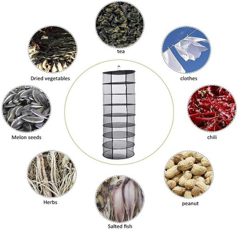 FLAMEER Collapsible Drying Net Herb Dryer Mesh Tray Outdoor//Indoor Garden Drying Racks 4-Layer Armygreen