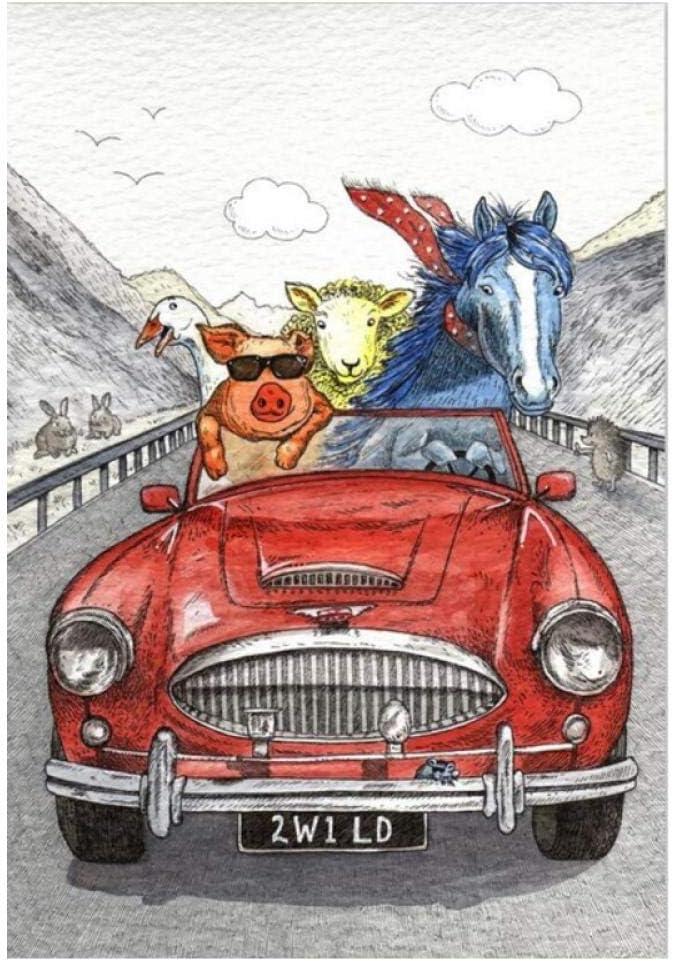 Zhaoyangeng Cerdo Y Caballo Que Conduce El Coche Cuadros Decorativos Abstractos Para Niños Decoración De La Habitación Animales Arte De La Pared Pintura De La Lona- 40X60Cm Sin Marco