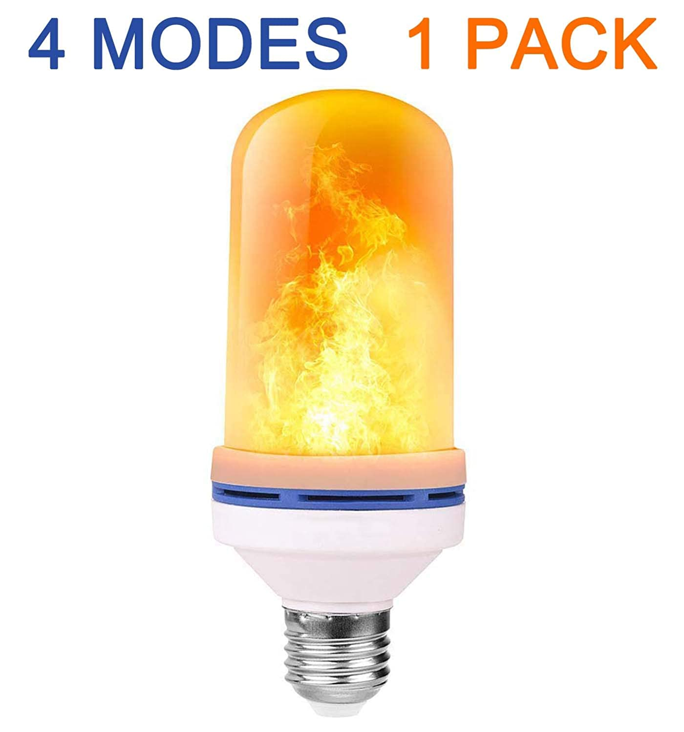 4 Pack LED Flame Effect Fire Light Bulbs with Upside Down Effect Simulated Decorative Flickering Light Atmosphere Lighting Flaming Lamp Flame Bulb for Christmas Home//Hotel//Bar Party Decoration